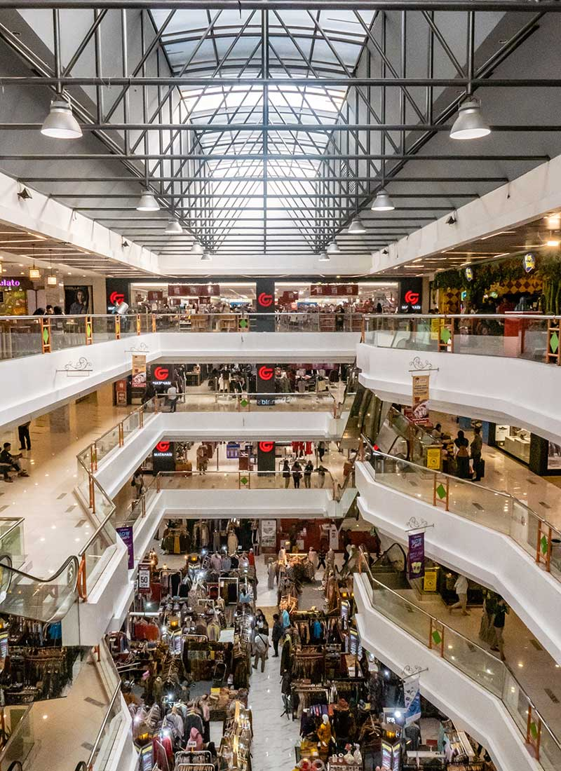 Crowded Mall Filled with Shoppers